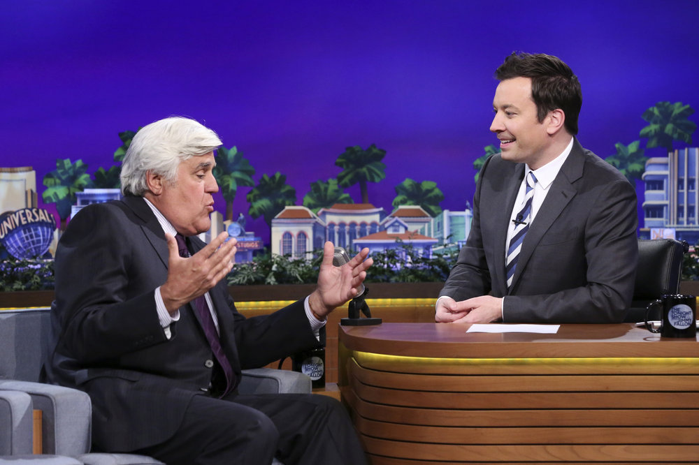 THE TONIGHT SHOW STARRING JIMMY FALLON -- Episode 0654 -- Pictured: (l-r) Comedian Jay Leno during an interview with host Jimmy Fallon on April 6, 2017 -- (Photo by: Andrew Lipovsky/NBC)