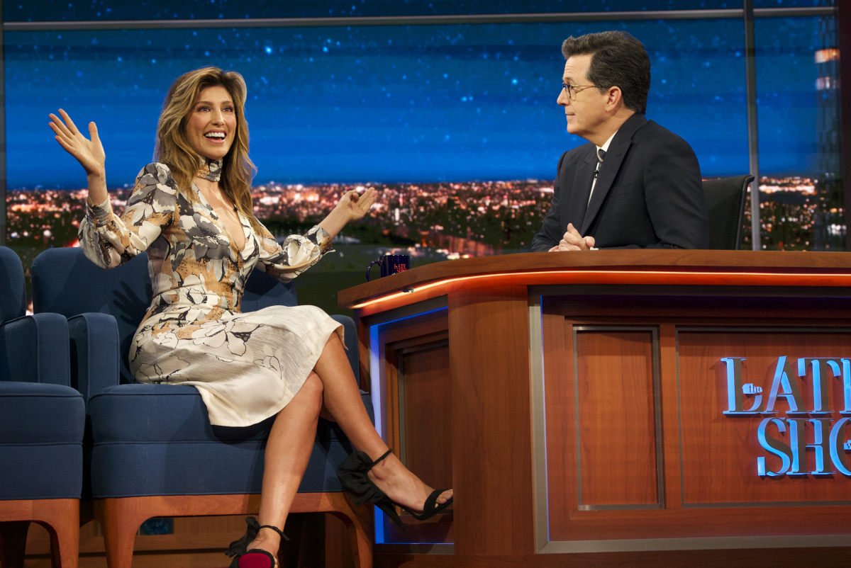 The Late Show with Stephen Colbert airing Monday April 3, 2017 with Jason Sudeikis; Jennifer Esposito; musical performance by Joey Bada$$. Photo: Richard Boeth/CBS ©2017 CBS Broadcasting Inc. All Rights Reserved
