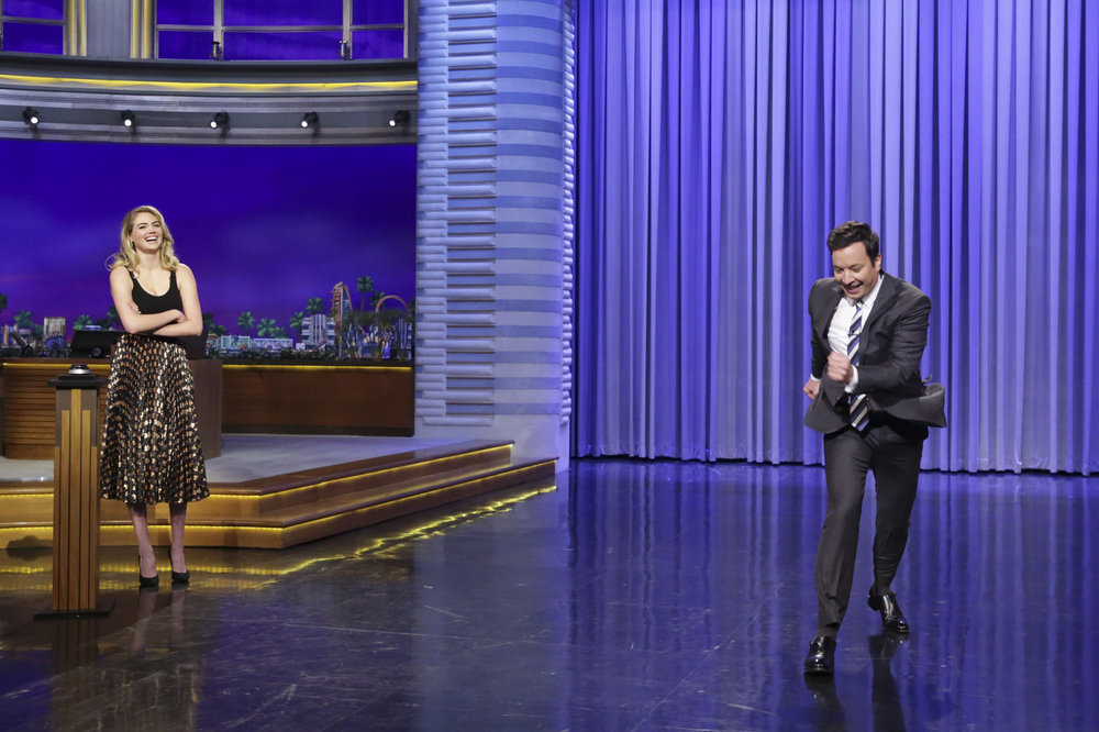 THE TONIGHT SHOW STARRING JIMMY FALLON -- Episode 0654 -- Pictured: (l-r) Model Kate Upton and host Jimmy Fallon during Dance Battle on April 6, 2017 -- (Photo by: Andrew Lipovsky/NBC)