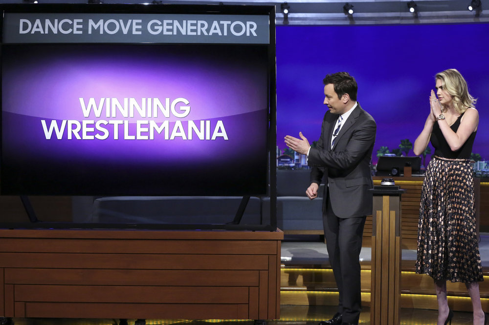 THE TONIGHT SHOW STARRING JIMMY FALLON -- Episode 0654 -- Pictured: (l-r) Host Jimmy Fallon and model Kate Upton during Dance Battle on April 6, 2017 -- (Photo by: Andrew Lipovsky/NBC)