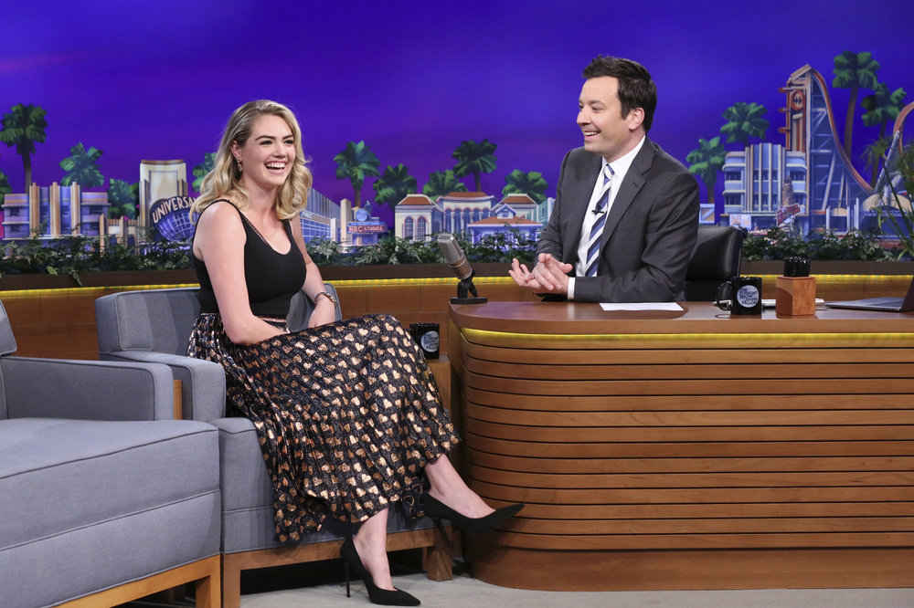 THE TONIGHT SHOW STARRING JIMMY FALLON -- Episode 0654 -- Pictured: (l-r) Model Kate Upton during an interview with host Jimmy Fallon on April 6, 2017 -- (Photo by: Andrew Lipovsky/NBC)
