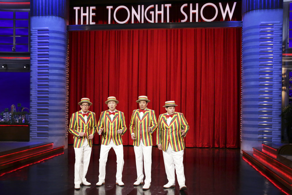 THE TONIGHT SHOW STARRING JIMMY FALLON -- Episode 0652 -- Pictured: (l-r) A.D. Miles, Tom Shillue, host Jimmy Fallon, and Chris Tartaro perform as the Ragtime Gals on April 4, 2017 -- (Photo by: Andrew Lipovsky/NBC)