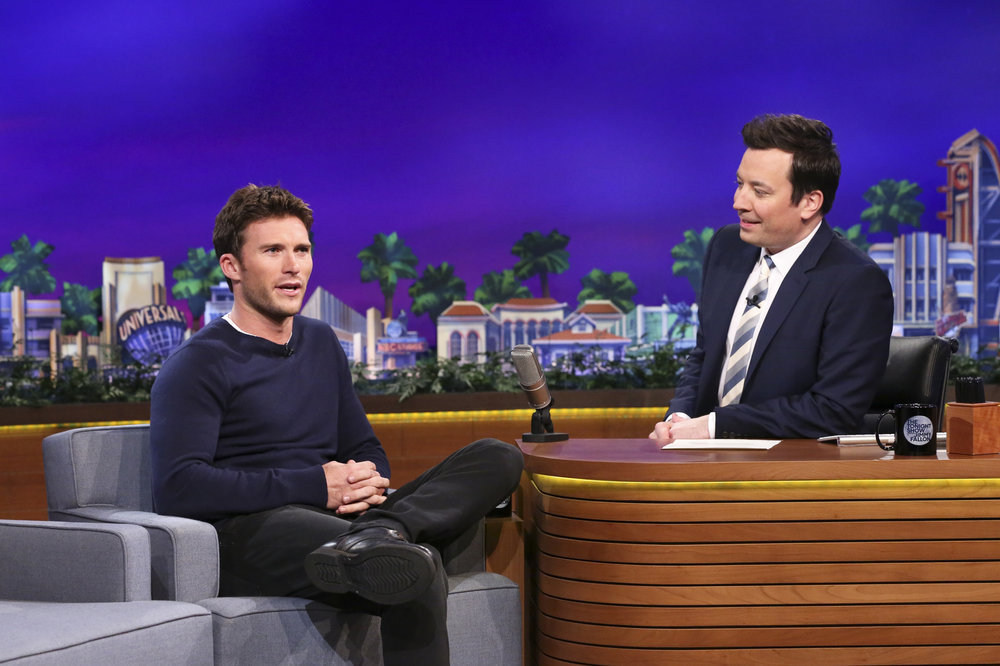 THE TONIGHT SHOW STARRING JIMMY FALLON -- Episode 0652 -- Pictured: (l-r) Actor Scott Eastwood during an interview with host Jimmy Fallon on April 4, 2017 -- (Photo by: Andrew Lipovsky/NBC)