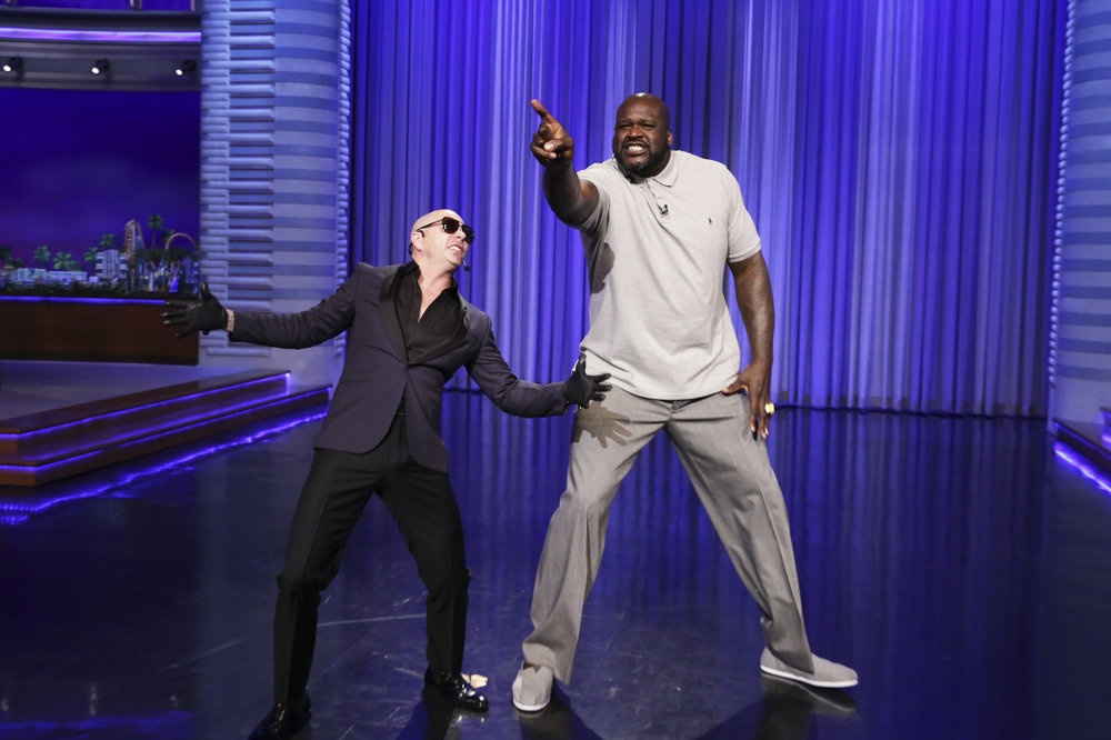 THE TONIGHT SHOW STARRING JIMMY FALLON -- Episode 0651 -- Pictured: (l-r) Musical guest Pitbull and basketball player Shaquille O'Neal during Lip Sync Battle on April 3, 2017 -- (Photo by: Andrew Lipovsky/NBC)