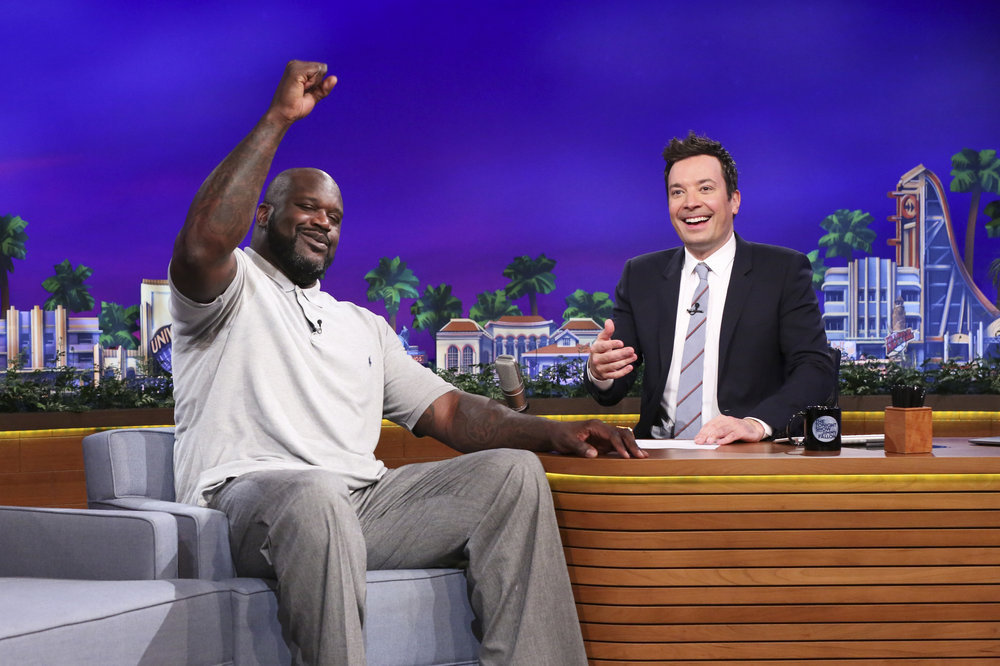 THE TONIGHT SHOW STARRING JIMMY FALLON -- Episode 0651 -- Pictured: (l-r) Basketball player Shaquille O'Neal during an interview with host Jimmy Fallon on April 3, 2017 -- (Photo by: Andrew Lipovsky/NBC)