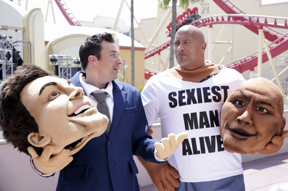 "THE TONIGHT SHOW STARRING JIMMY FALLON -- Episode 0653 -- Pictured: (l-r) Host Jimmy Fallon and actor Dwayne Johnson during ""Mascot Photobomb"" on April 5, 2017 -- (Photo by: Andrew Lipovsky/NBC)"