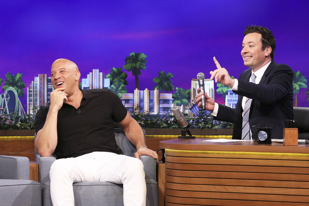 THE TONIGHT SHOW STARRING JIMMY FALLON -- Episode 0651 -- Pictured: (l-r) Actor Vin Diesel during an interview with host Jimmy Fallon on April 3, 2017 -- (Photo by: Andrew Lipovsky/NBC)
