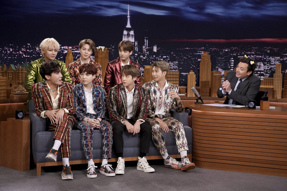 BTS performs Fortnite dance challenge on the Tonight Show